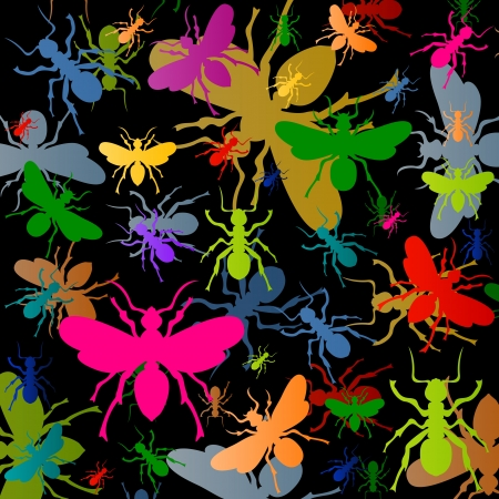 Colorful ants insects silhouettes illustration background vector Stock Vector - 17408053
