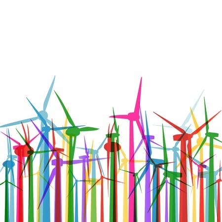 generadores: Electricidad generadores de viento hierba ecolog�a concepto vector ilustraci�n de fondo Vectores