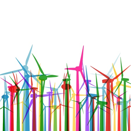 wind mill: Wind electricity generators grass ecology concept illustration background vector