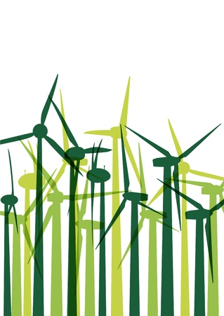 power in nature turbine: Green wind electricity generators grass ecology concept illustration background vector