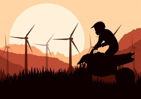 Wind electricity generators, windmills and all terrain motorcycle in desert mountain landscape ecology illustration background vector Stock Vector - 17408087