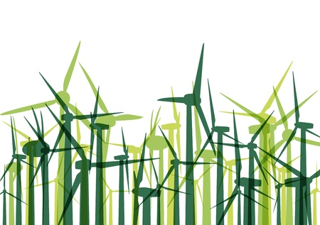 Green wind electricity generators grass ecology concept illustration background vector Stock Vector - 17408051