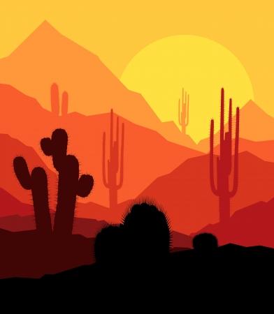 cactus desert: Cactus planten in de woestijn zonsondergang vector achtergrond voor poster