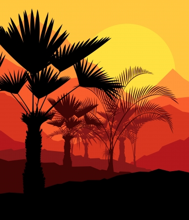 caribbean climate: Tropical sunset palm trees vector background for poster