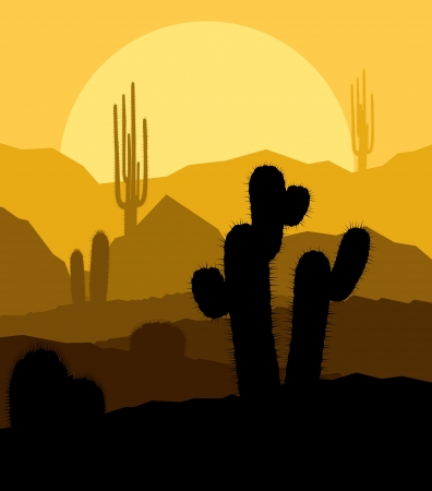 Cactus plants in desert sunset vector background for poster Vector