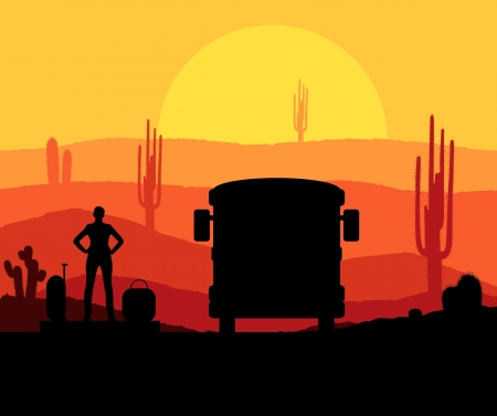 desert sunset: Cactus plants in desert sunset vector background with woman and bus for poster