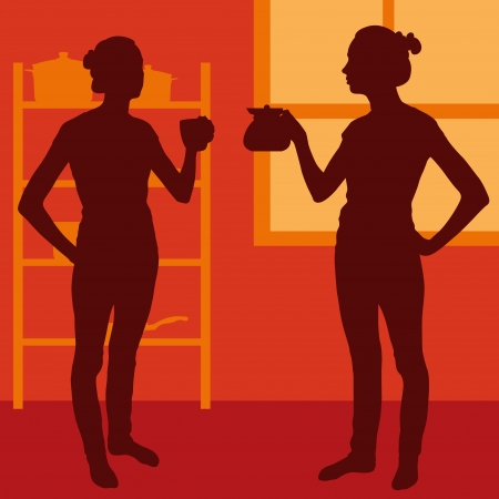 house wife: House wife in kitchen drinking tea vector background for poster