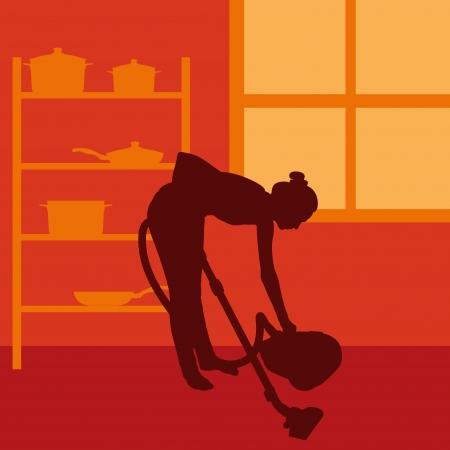servicio domestico: Mujer limpiando con aspiradora de fondo vector Vectores