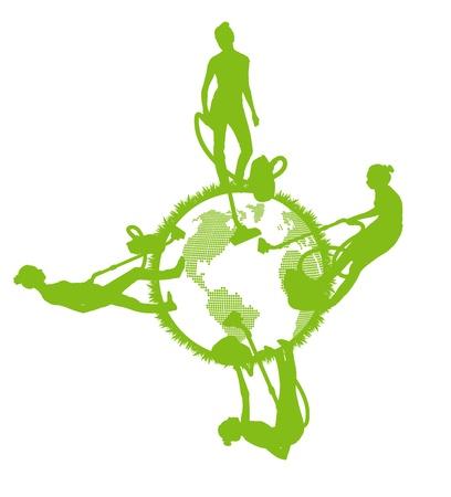 Nettoyeurs vecteur de nettoyage de fond planète concept de vecteur écologie Vecteurs