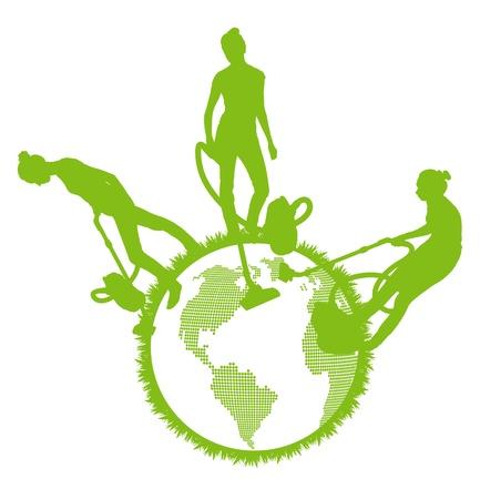 verde: Limpiadores vector limpieza planeta fondo concepto de la ecología del vector Vectores