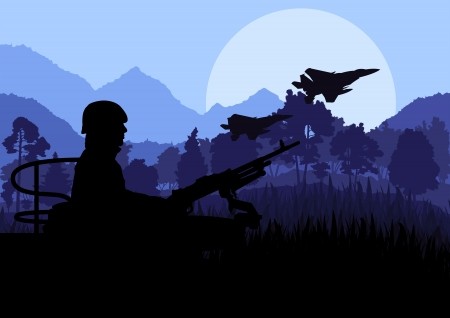 battle plane: Army soldier with helicopters, guns and transportation in wild desert mountain nature landscape background illustration vector Illustration