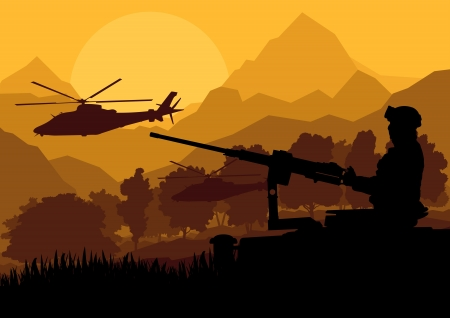 Army soldier with helicopters, guns and transportation in wild desert mountain nature landscape background illustration vector Vector