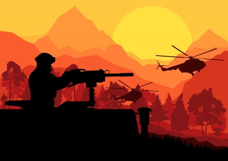 army men: Army soldier with helicopters, guns and transportation in wild desert mountain nature landscape background illustration vector Illustration