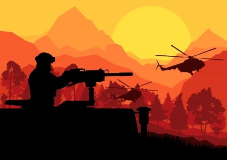 silhouette soldat: Soldat de l'armée avec des hélicoptères, des armes et du transport en montagne désert sauvage vecteur paysage nature illustration de fond