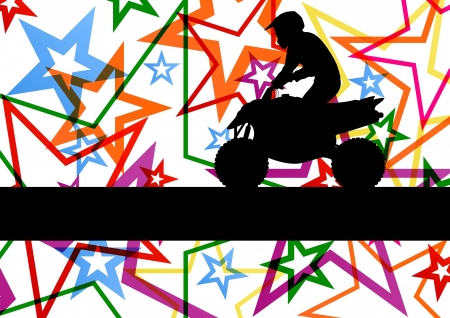 All terrain vehicle quad motorbike rider illustration colorful star line background vector Vector