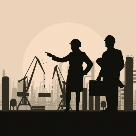 civil engineering: Construction site and engineer vector background for poster Illustration