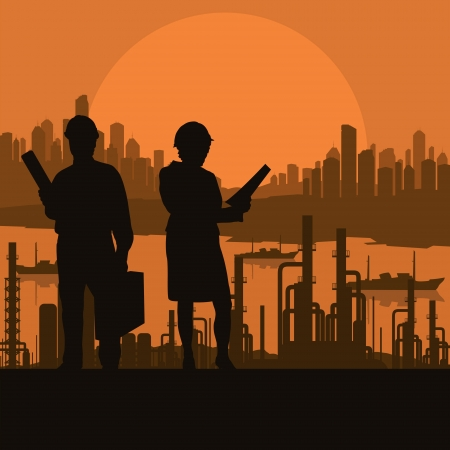taskmaster: Construction site and engineer vector background for poster Illustration