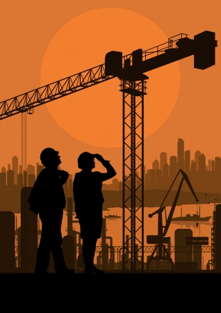 constructor: Construction site and engineer vector background for poster Illustration
