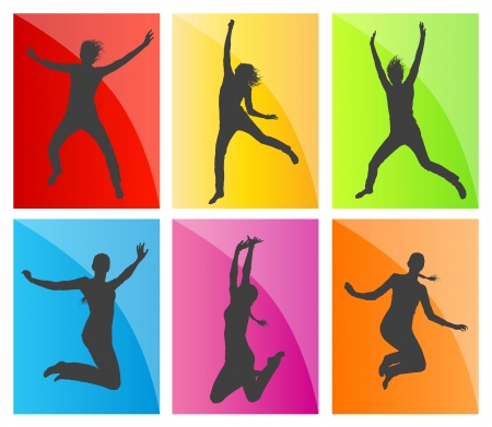 Young teenagers and children illustration collection silhouettes jumping in the air background vector Vector