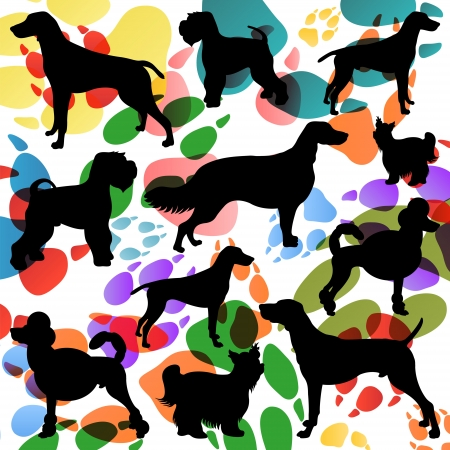 Dogs and dog footprints silhouettes colorful illustration collection background vector Stock Vector - 17871227