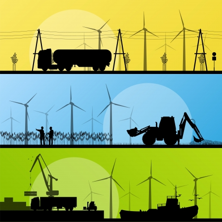 Wind electricity generators and windmills in countryside village and in ocean sea harbor landscape ecology illustration background vector Vector