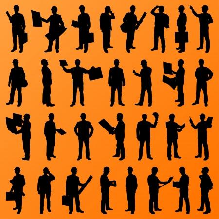construction management: Ingegnere e costruzione persone sito, operaio, dirigente, capo, direttore sagome illustrazione dettagliata raccolta sfondo Vettoriali
