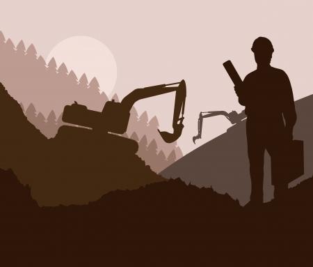 Chantier de construction et de fond de vecteur ingénieur pour l'affiche