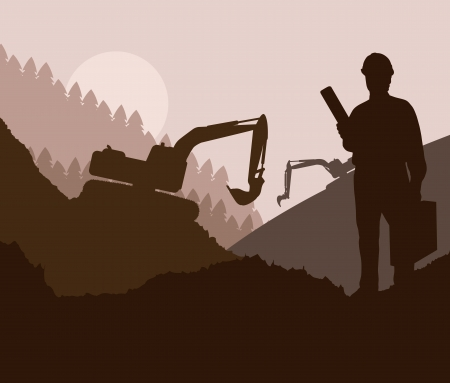 foreman: Construction site and engineer vector background for poster Illustration