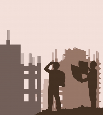 site manager: Construction site and engineer vector background for poster Illustration