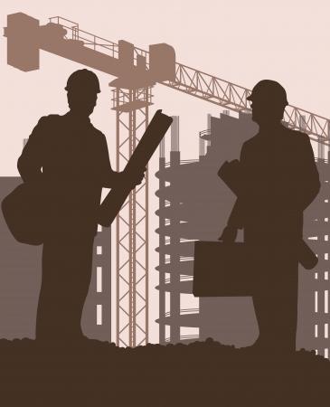 建設: ポスターの建設サイトとエンジニアのベクトルの背景