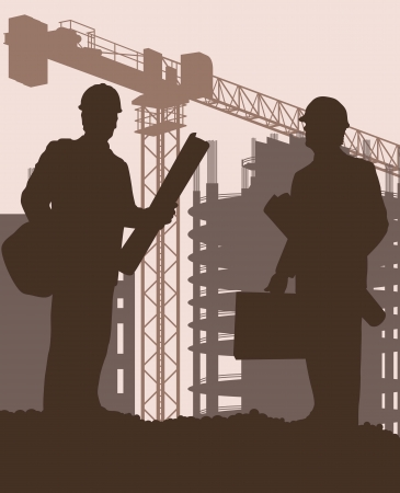 construction manager: Construction site and engineer vector background for poster Illustration