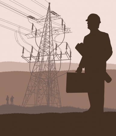 ecologically: Power high voltage tower with engineer in front of it for poster Illustration