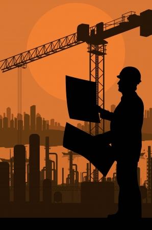 ingeniero civil: Emplazamiento de la obra y el fondo ingeniero vector para el cartel