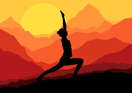 Yoga woman sunrise vector background for poster Vector