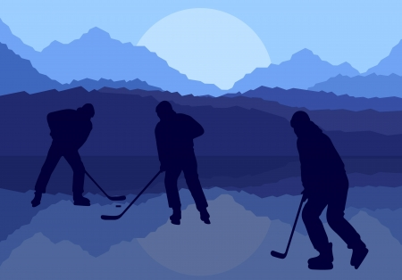Hockey players on abstract ice field vector Vector
