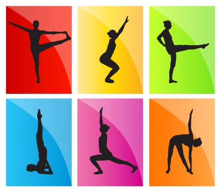 Yoga vector background set for poster Stock Vector - 17870951