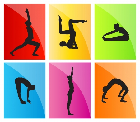 Yoga vector background set for poster Stock Vector - 17870949