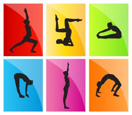 abdominal exercise: Yoga vector background set for poster Illustration