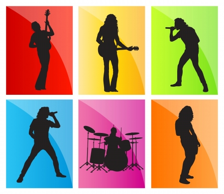 singing silhouette: Music band set vector background for poster Illustration
