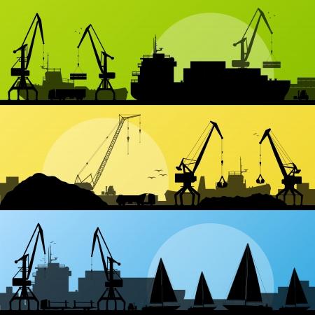 Industriële haven, schepen, transport en kraan kust landschap silhouet illustratie collectie achtergrond vector