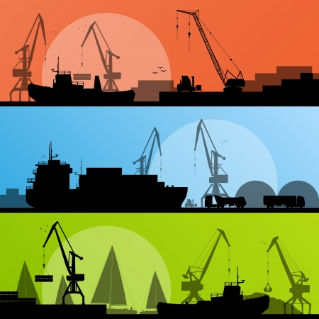 container port: Industrial harbor, ships, transportation and crane seashore landscape silhouette illustration collection background vector