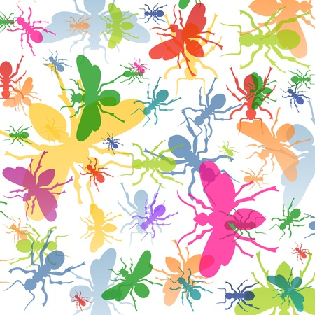 Ants colorful insects silhouettes illustration background Stock Vector - 17871228