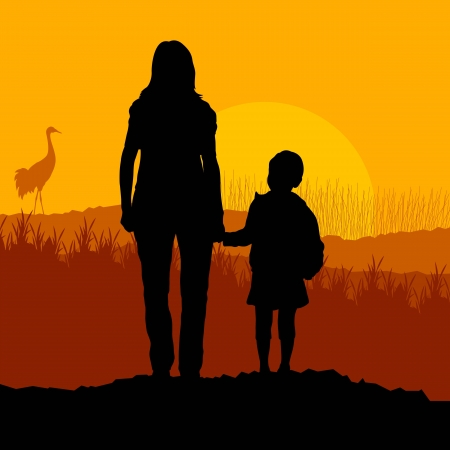 mom holding baby: Mother with daughter landscape vector background