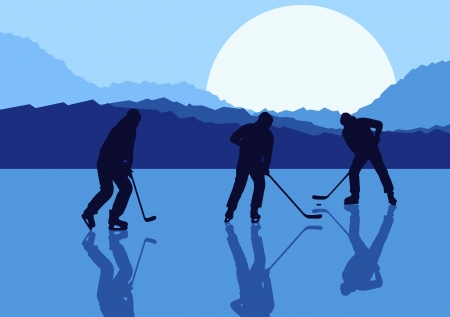 ice hockey player: Ice hockey landscape vector background