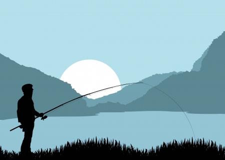 Fisherman landschap vector achtergrond voor poster