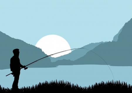 Pescatore vettore paesaggio di sfondo per poster