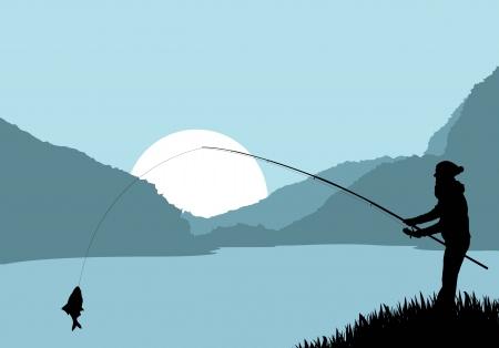 resting rod fishing: Fisherman landscape vector background for poster