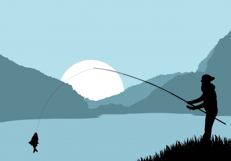horgász: Fisherman táj vektor, háttér poszter