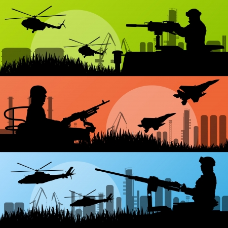 Army soldiers, planes, helicopters, guns and transportation in urban industrial factory landscape background illustration vector Vector