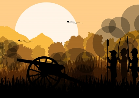 civil war: Vintage old civil war battle field warfare soldier troops and artillery cannon guns